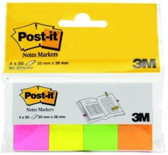 3M Post-it Index 670-4N jelölőlapok - neon színekben - 4 x 50 lap / csomag