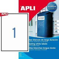 APLI No. 01228 fehér színű 210 x 297 mm méretű, lézernyomtatóval nyomtatható, öntapadós időjárásálló etikett címke, erős, tartós ragasztóval A4-es íven - kiszerelés: 20 címke / 20 ív (LCA1228)