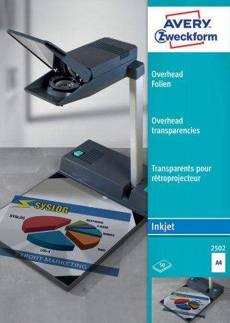 Avery Zweckform No. 2502 írásvetítő fólia tintasugaras nyomtatóhoz (vastagság: 0,11 mm, méret: A4, 50 ív / csomag)(Avery 2502)