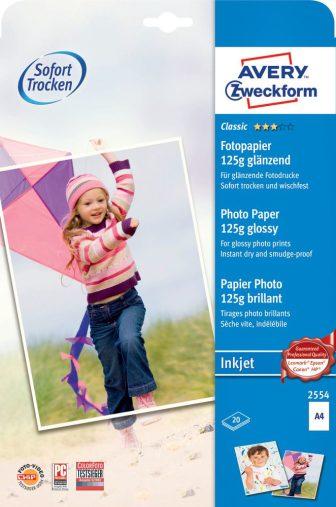 Avery Zweckform No. 2554 tintasugaras 210 x 297 mm (A4) méretű, 125 g -os hagyományos fényes fotópapír - 20 ív / csomag (Avery 2554)