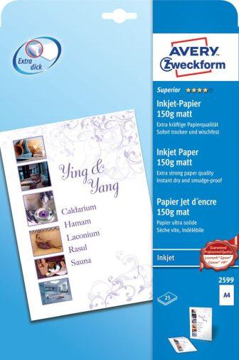 Avery Zweckform No. 2599 tintasugaras 210 x 297 mm (A4) méretű, 150 g -os különleges minőségű matt nagyfelbontású papír - 25 ív / csomag (Avery 2599)