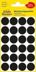 Avery Zweckform 18 mm átmérőjű öntapadó fekete színű jelölő címke, jelölő pötty, jelölő pont