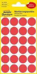 Avery Zweckform 18 mm átmérőjű öntapadó piros színű jelölő címke, jelölő pötty, jelölő pont