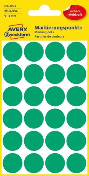 Avery Zweckform 18 mm átmérőjű öntapadó zöld színű jelölő címke, jelölő pötty, jelölő pont