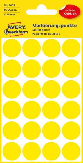 Avery Zweckform 18 mm átmérőjű öntapadó sárga színű jelölő címke, jelölő pötty, jelölő pont