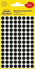 Avery Zweckform 8 mm átmérőjű öntapadó fekete színű jelölő címke, jelölő pötty, jelölő pont