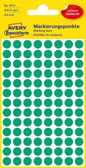 Avery Zweckform 8 mm átmérőjű öntapadó zöld színű jelölő címke, jelölő pötty, jelölő pont