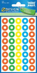 Avery Zweckform Z-Design No. 3055 vegyes színű, 13 mm átmérőjű öntapadó lyukerősítő gyűrű - kiszerelés: 160 gyűrű / csomag (Avery Z-Design 5055)