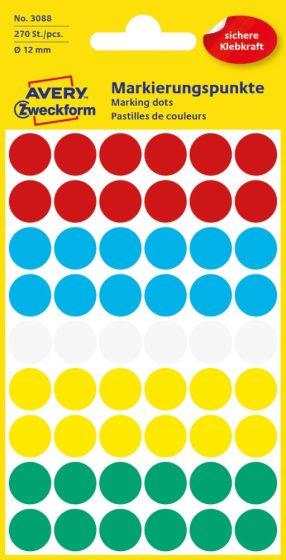 Avery Zweckform 12 mm átmérőjű öntapadó vegyes színű jelölő címke, jelölő pötty, jelölő pont