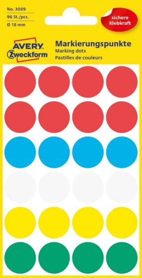 Avery Zweckform 18 mm átmérőjű öntapadó vegyes színű jelölő címke, jelölő pötty, jelölő pont