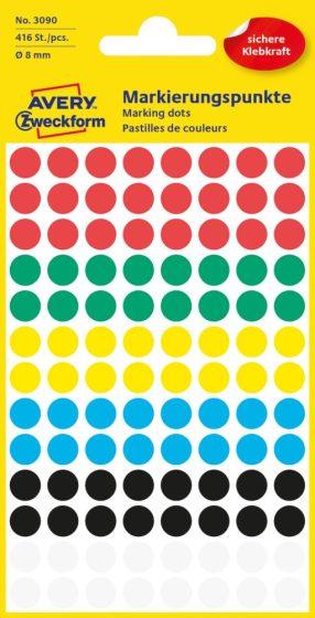 Avery Zweckform 8 mm átmérőjű öntapadó vegyes színű jelölő címke, jelölő pötty, jelölő pont