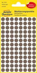 Avery Zweckform 8 mm átmérőjű öntapadó barna színű jelölő címke, jelölő pötty, jelölő pont