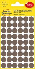Avery Zweckform 12 mm átmérőjű öntapadó barna színű jelölő címke, jelölő pötty, jelölő pont