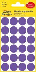 Avery Zweckform 18 mm átmérőjű öntapadó lila színű jelölő címke, jelölő pötty, jelölő pont