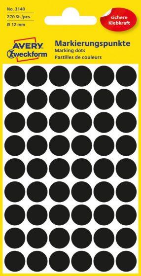 Avery Zweckform 12 mm átmérőjű öntapadó fekete színű jelölő címke, jelölő pötty, jelölő pont