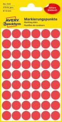 Avery Zweckform 12 mm átmérőjű öntapadó piros színű jelölő címke, jelölő pötty, jelölő pont