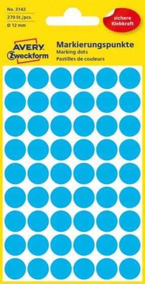 Avery Zweckform 12 mm átmérőjű öntapadó kék színű jelölő címke, jelölő pötty, jelölő pont