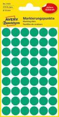 Avery Zweckform 12 mm átmérőjű öntapadó zöld színű jelölő címke, jelölő pötty, jelölő pont