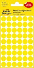 Avery Zweckform 12 mm átmérőjű öntapadó sárga színű jelölő címke, jelölő pötty, jelölő pont