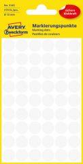 Avery Zweckform 12 mm átmérőjű öntapadó fehér színű jelölő címke, jelölő pötty, jelölő pont