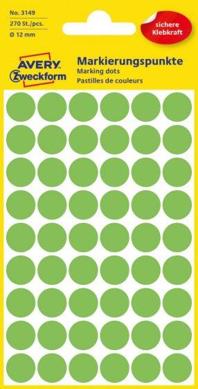 Avery Zweckform 12 mm átmérőjű öntapadó neon zöld színű jelölő címke, jelölő pötty, jelölő pont