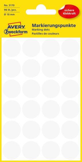 Avery Zweckform 18 mm átmérőjű öntapadó fehér színű jelölő címke, jelölő pötty, jelölő pont