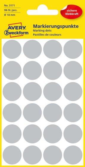Avery Zweckform 18 mm átmérőjű öntapadó szürke színű jelölő címke, jelölő pötty, jelölő pont