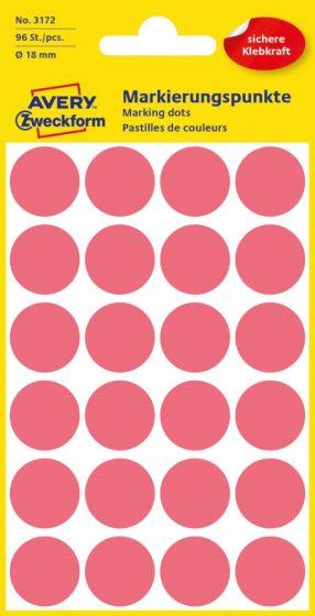 Avery Zweckform 18 mm átmérőjű öntapadó neon piros színű jelölő címke, jelölő pötty, jelölő pont