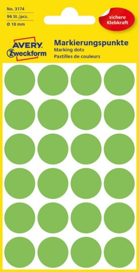 Avery Zweckform 18 mm átmérőjű öntapadó neon zöld színű jelölő címke, jelölő pötty, jelölő pont