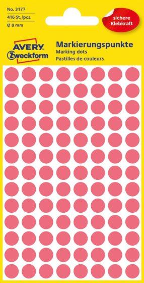 Avery Zweckform 8 mm átmérőjű öntapadó neon piros színű jelölő címke, jelölő pötty, jelölő pont