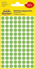 Avery Zweckform 8 mm átmérőjű öntapadó neon zöld színű jelölő címke, jelölő pötty, jelölő pont