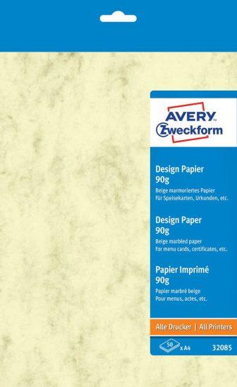Avery Zweckform No. 32085 univerzális 210 x 297 mm (A4) méretű, 90 g -os bézs színű márványmintás matt papír - 50 ív / csomag (Avery 32085)
