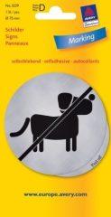 Avery Zweckform No. 3229 öntapadó 75 mm átmérőjű ezüst színű információs matrica Kutyát bevinni tilos! piktogrammal - 1 etikett címke / csomag - 1 ív / csomag (Avery 3229)