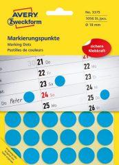 Avery Zweckform 18 mm átmérőjű öntapadó kék színű jelölő címke, jelölő pötty, jelölő pont