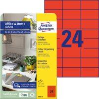 Avery Zweckform 70 x 37 mm méretű, piros színű nyomtatható öntapadós etikett címke