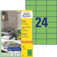 Avery Zweckform 70 x 37 mm méretű, zöld színű nyomtatható öntapadós etikett címke