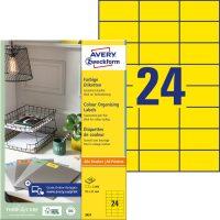 Avery Zweckform 70 x 37 mm méretű, sárga színű nyomtatható öntapadós etikett címke