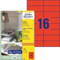 Avery Zweckform 105 x 37 mm méretű, piros színű nyomtatható öntapadós etikett címke