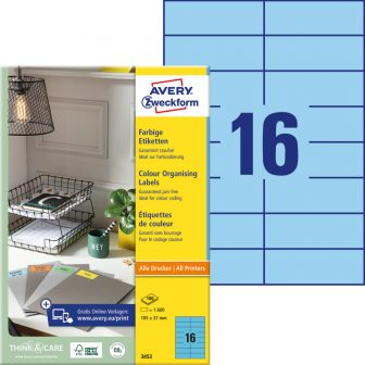 Avery Zweckform 105 x 37 mm méretű, kék színű nyomtatható öntapadós etikett címke