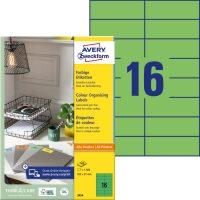 Avery Zweckform 105 x 37 mm méretű, zöld színű nyomtatható öntapadós etikett címke
