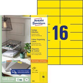 Avery Zweckform 105 x 37 mm méretű, sárga színű nyomtatható öntapadós etikett címke