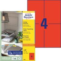 Avery Zweckform 105 x 148 mm méretű, piros színű nyomtatható öntapadós etikett címke