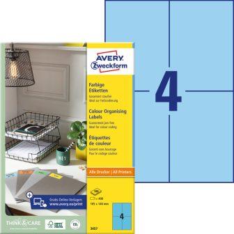 Avery Zweckform 105 x 148 mm méretű, kék színű nyomtatható öntapadós etikett címke
