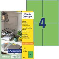 Avery Zweckform 105 x 148 mm méretű, zöld színű nyomtatható öntapadós etikett címke