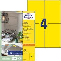 Avery Zweckform 105 x 148 mm méretű, sárga színű nyomtatható öntapadós etikett címke