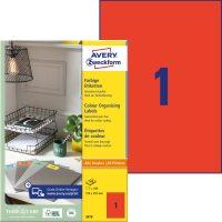 Avery Zweckform 210 x 297 mm méretű, piros színű nyomtatható öntapadós etikett címke
