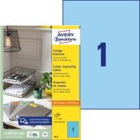 Avery Zweckform 210 x 297 mm méretű, kék színű nyomtatható öntapadós etikett címke