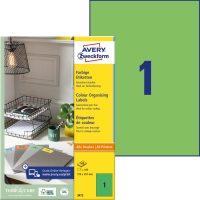 Avery Zweckform 210 x 297 mm méretű, zöld színű nyomtatható öntapadós etikett címke