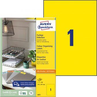 Avery Zweckform 210 x 297 mm méretű, sárga színű nyomtatható öntapadós etikett címke