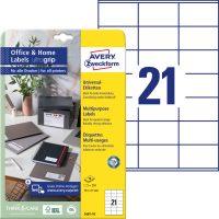 Avery Zweckform 70 x 41 mm méretű, fehér színű nyomtatható öntapadós etikett címke